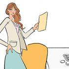 フリーイラスト(無料素材)オフィスのデスクの前で書類を持つ女性