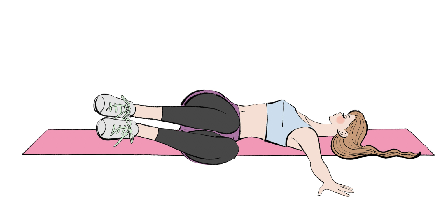フリーイラスト(無料素材)マットに寝転んでエクササイズをする女性のイラスト