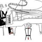 フリーイラスト(無料素材)ピアノを弾く男性(パパ)と拍手する女の子