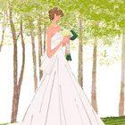 フリーイラスト(無料素材)高原、森の教会に立つウェディングドレスの花嫁