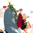 フリーイラスト(無料素材)クリスマス。プレゼントとツリーを持ってスクーターに乗る女の子と熊
