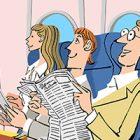 飛行機・座席に座る人々01