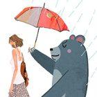 梅雨・傘を差すクマと一緒に歩く女性