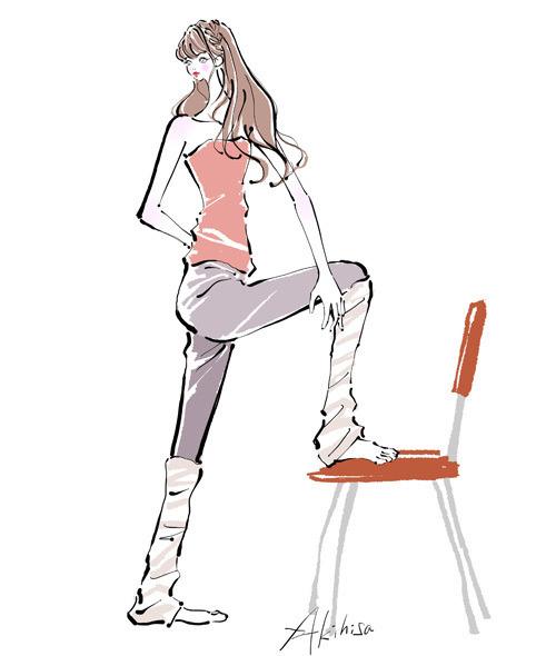 椅子に脚を載せて腰をひねる運動をする女性のイラスト