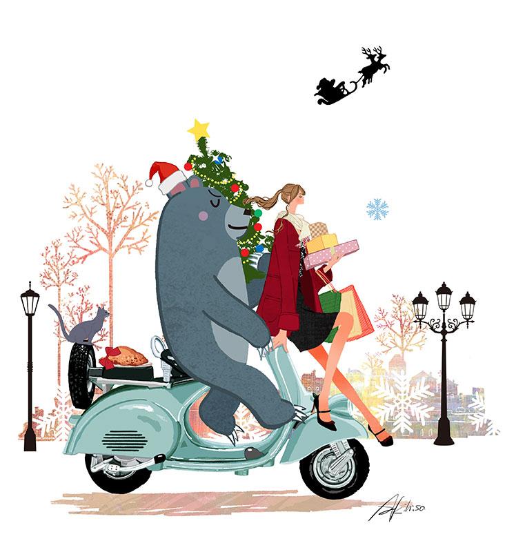 イラスト、着物、自転車/女性 ...